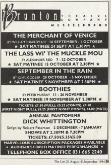 Brunton Theatre schedule showing The Merchant of Venice from The List, 26 Aug 1994