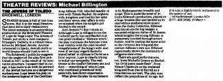 Theatre review, The Jewess of Toledo from The Guardian, 19 Feb 1997
