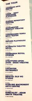 Schedule from theatre programme of Trainspotting UK Tour