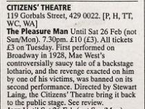 Theatre listing for The Pleasure Man, The List, 17 Feb 2000