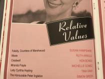Cast list from the theatre programme for Relative Values
